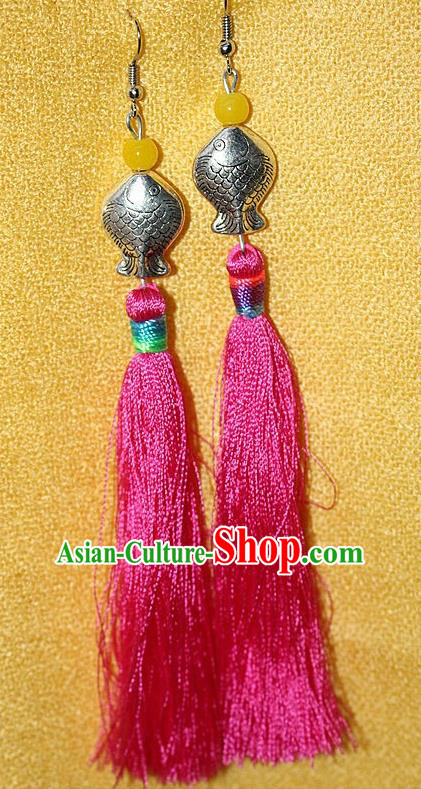 Traditional Chinese Miao Nationality Crafts Jewelry Accessory Classical Earbob Accessories, Hmong Handmade Miao Silver Kiss Fish Palace Lady Pink Silk Tassel Earrings, Miao Ethnic Minority Eardrop for Women