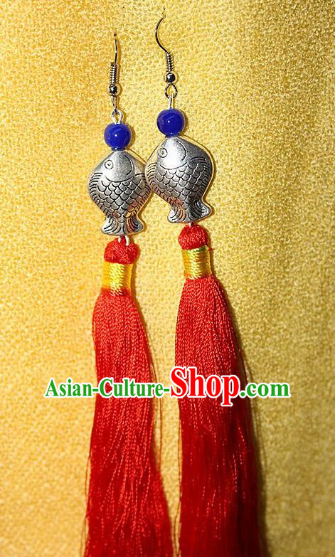 Traditional Chinese Miao Nationality Crafts Jewelry Accessory Classical Earbob Accessories, Hmong Handmade Miao Silver Kiss Fish Palace Lady Red Silk Tassel Earrings, Miao Ethnic Minority Eardrop for Women