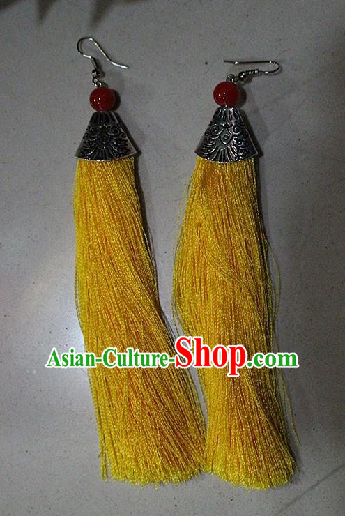 Traditional Chinese Miao Nationality Crafts Jewelry Accessory Classical Earbob Accessories, Hmong Handmade Palace Lady Yellow Silk Tassel Earrings, Miao Ethnic Minority Eardrop for Women