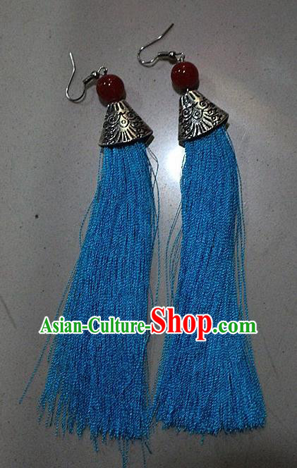 Traditional Chinese Miao Nationality Crafts Jewelry Accessory Classical Earbob Accessories, Hmong Handmade Palace Lady Blue Silk Tassel Earrings, Miao Ethnic Minority Eardrop for Women
