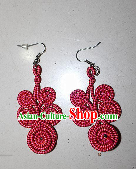 Traditional Chinese Miao Nationality Crafts Jewelry Accessory Classical Earbob Accessories, Hmong Handmade Kinking Palace Lady Red Earrings, Miao Ethnic Minority Weave Eardrop for Women