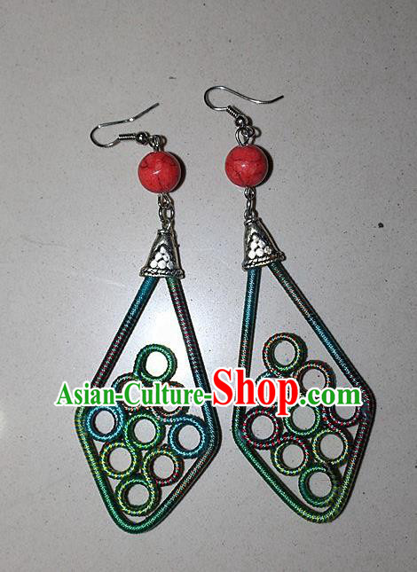 Traditional Chinese Miao Nationality Crafts Jewelry Accessory Classical Earbob Accessories, Hmong Handmade Kinking Palace Lady Earrings, Miao Ethnic Minority Weave Eardrop for Women