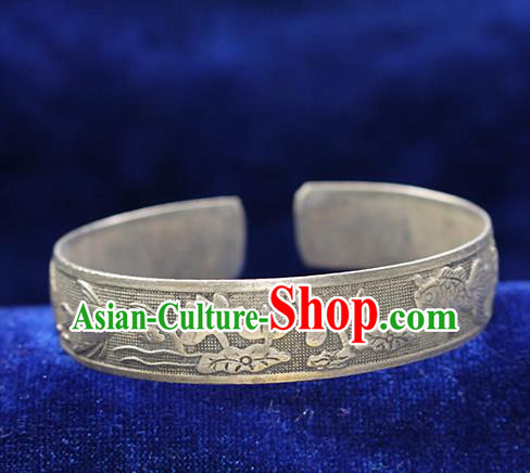 Traditional Chinese Miao Nationality Crafts Jewelry Accessory Bangle, Hmong Handmade Miao Silver Lotus Bracelet, Miao Ethnic Minority Silver Wide Bracelet Accessories for Women