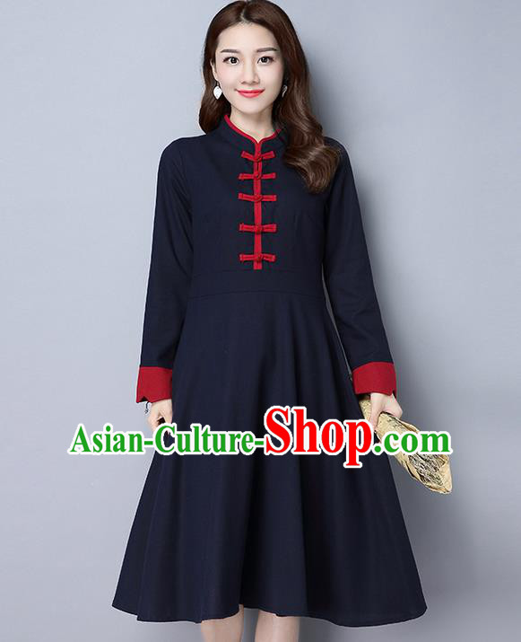 Traditional Ancient Chinese National Costume, Elegant Hanfu Stand Collar Plated Buttons Navy Dress, China Tang Suit Cheongsam Dress Upper Outer Garment Dress Clothing for Women
