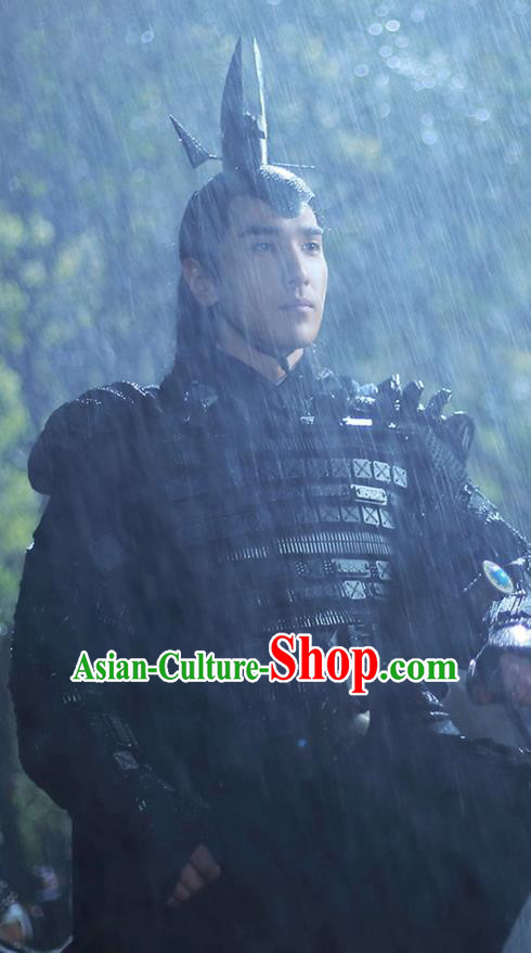 Traditional Ancient Chinese Elegant Swordsman Black Costume, Chinese Han Dynasty Male Prince Corselet Robe, Cosplay Ten Great III of Peach Blossom Nobility Childe Ye hua Chinese Imperial Crown Prince Hanfu Armour Clothing for Men