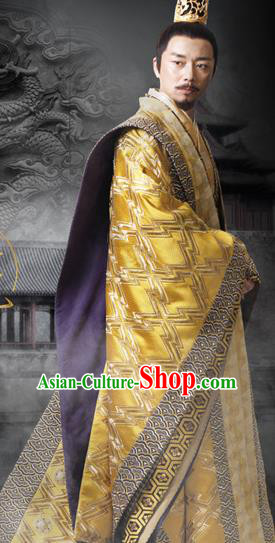 Traditional Ancient Chinese Imperial Emperor Costume, Chinese Western Wei Dynasty Majesty Dress, Chinese Drunk Exquisite King Dragon Robes, Ancient China Imperial Padishah Embroidered Clothing for Men