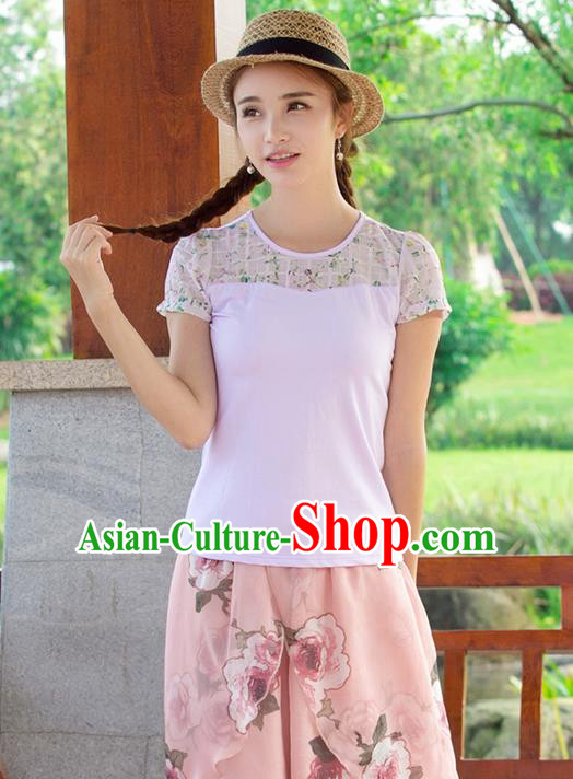 Traditional Ancient Chinese National Costume, Elegant Hanfu Printing Flowers Shirt, China Tang Suit Blouse Cheongsam Qipao Shirts Clothing for Women