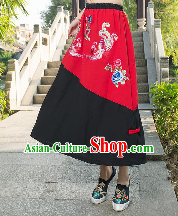 Traditional Ancient Chinese National Pleated Skirt Costume, Elegant Hanfu Embroidered Long Dress, China Ancient Tang Suit Cotton Bust Skirt for Women