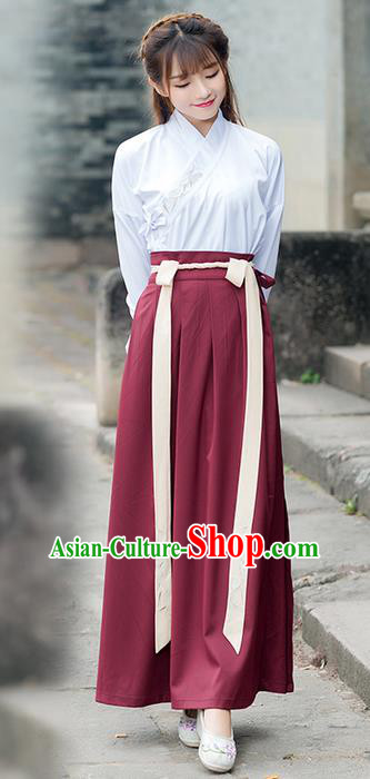 Traditional Chinese Ancient Costume, Elegant Hanfu Clothing Embroidered Bamboo Leaf Slant Opening Blouse and Dress, China Ming Dynasty Elegant Blouse and Skirt Complete Set for Women
