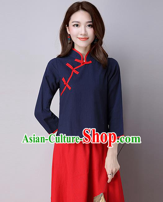 Traditional Ancient Chinese National Costume, Elegant Hanfu Linen Stand Collar Shirt, China Tang Suit Mandarin Collar Blouse Cheongsam Qipao Navy Shirts Clothing for Women
