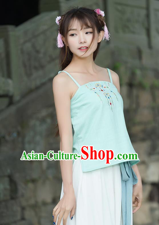 Traditional Ancient Chinese National Costume, Elegant Hanfu Bellyband Shirt, China Tang Suit Embroidery Undergarment Blouse Cheongsam Qipao Light Green Camisole Shirts Clothing for Women