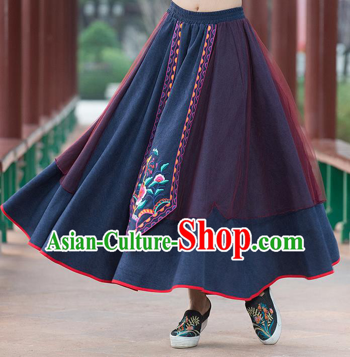 Traditional Chinese National Costume Pleated Skirt, Elegant Hanfu Embroidered Green Big Swing Dress, China Tang Suit Bust Skirt for Women