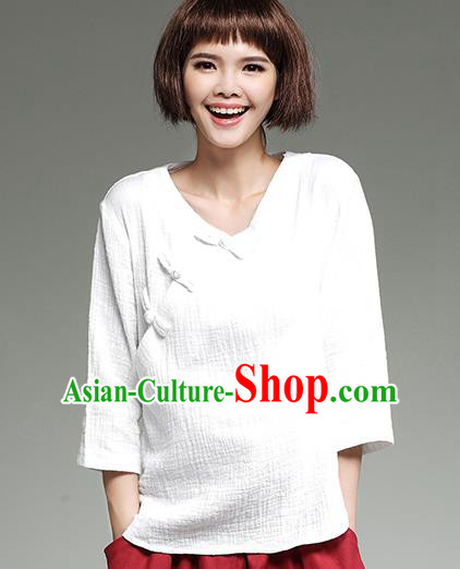 Traditional Ancient Chinese National Costume, Elegant Hanfu Plated Buttons Shirt, China Tang Suit Slant Opening White Blouse Cheongsam Qipao Shirts Clothing for Women