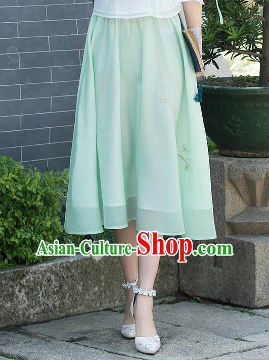 Traditional Ancient Chinese National Pleated Skirt Costume, Elegant Hanfu Embroidered Chiffon Green Dress, China Tang Suit Bust Skirt for Women