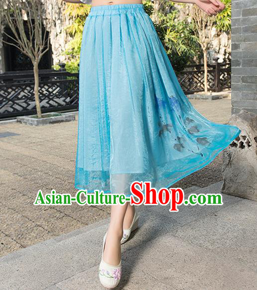 Traditional Ancient Chinese National Pleated Skirt Costume, Elegant Hanfu Ink Printing Chiffon Blue Dress, China Tang Suit Bust Skirt for Women