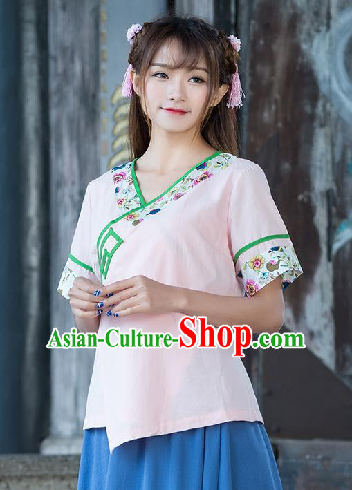 Traditional Ancient Chinese National Costume, Elegant Hanfu Embroidered Slant Opening Pink Shirt, China Ming Dynasty Tang Suit Blouse Cheongsam Qipao Shirts Clothing for Women