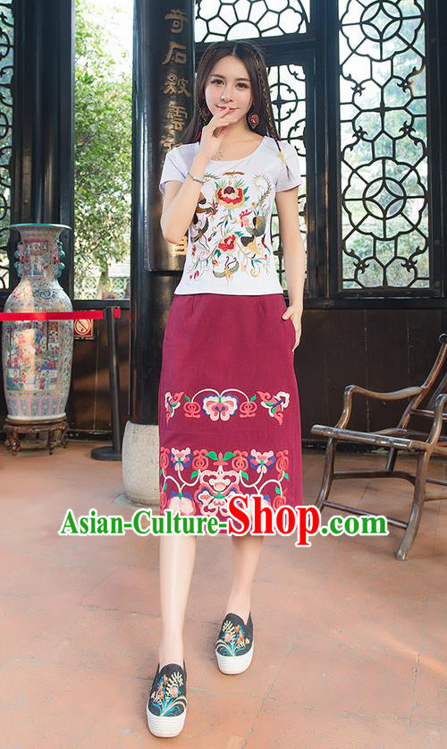 Traditional Chinese National Costume, Elegant Hanfu Embroidery Phoenix Totem White T-Shirt, China Tang Suit Blouse Cheongsam Upper Outer Garment Qipao Shirts Clothing for Women