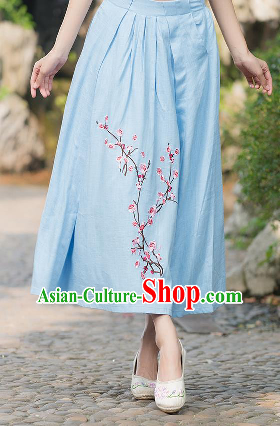 Traditional Ancient Chinese National Costume Pleated Skirt, Elegant Hanfu Embroidered Plum Blossom Linen Blue Dress, China Tang Suit Bust Skirt for Women
