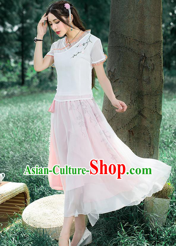 Traditional Ancient Chinese National Pleated Skirt Costume, Elegant Hanfu Embroidered Waistband Long Dress, China Tang Suit Pink Bust Skirt for Women