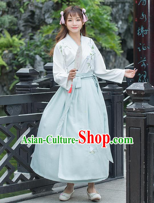 Traditional Chinese Ancient Costume, Elegant Hanfu Clothing Embroidered Blouse and Dress, China Ming Dynasty Elegant Slant Opening Blouse and Ru Skirt Complete Set for Women