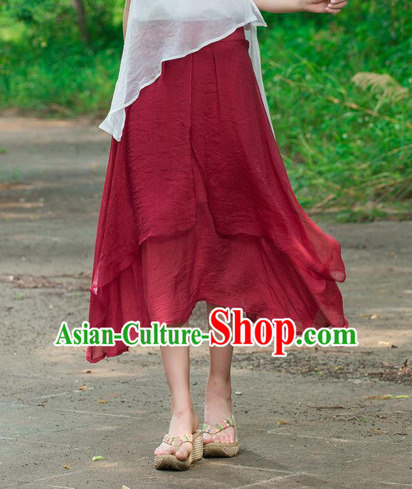 Traditional Ancient Chinese National Pleated Skirt Costume, Elegant Hanfu Linen Red Dress, China Tang Suit Bust Skirt for Women