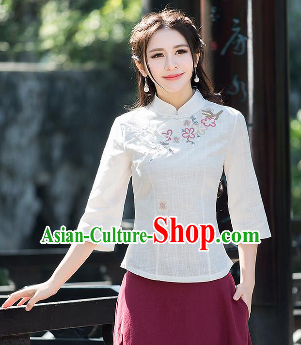 Traditional Ancient Chinese National Costume, Elegant Hanfu Linen Stand Collar Embroidered Shirt, China Tang Suit Mandarin Collar Blouse Cheongsam Qipao Shirts Clothing for Women