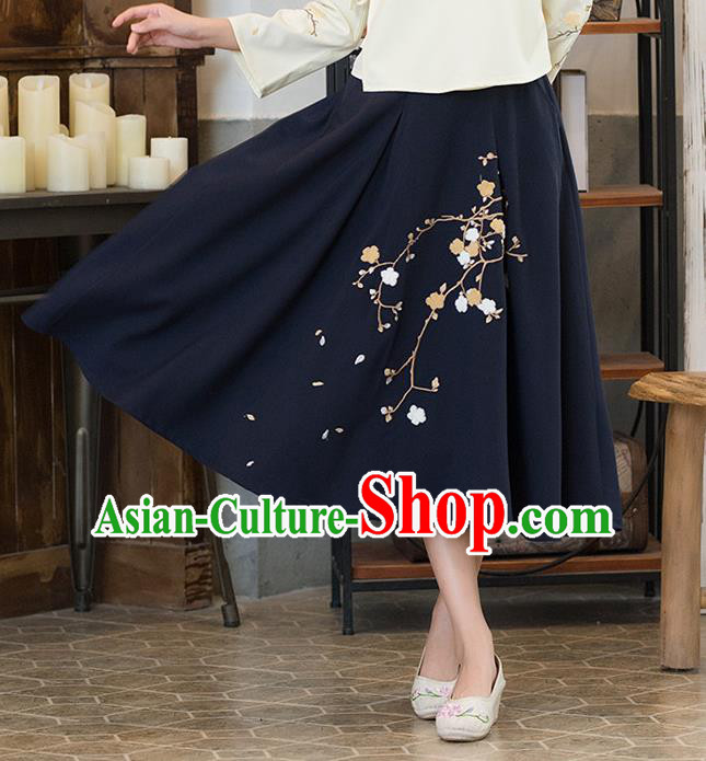 Traditional Ancient Chinese National Pleated Skirt Costume, Elegant Hanfu Embroidered Long Dress, China Tang Suit Royalblue Bust Skirt for Women