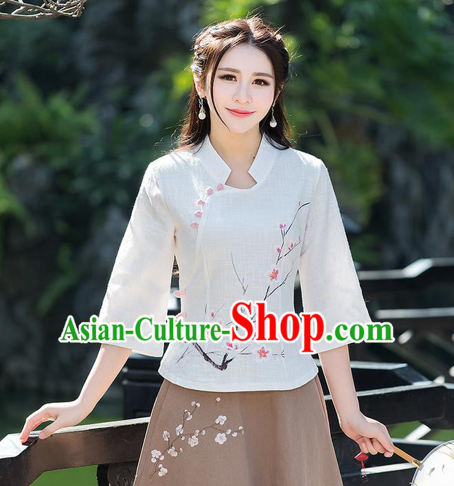 Traditional Ancient Chinese National Costume, Elegant Hanfu Embroidered Peach Flower White Shirt, China Ming Dynasty Tang Suit Blouse Cheongsam Qipao Shirts Clothing for Women