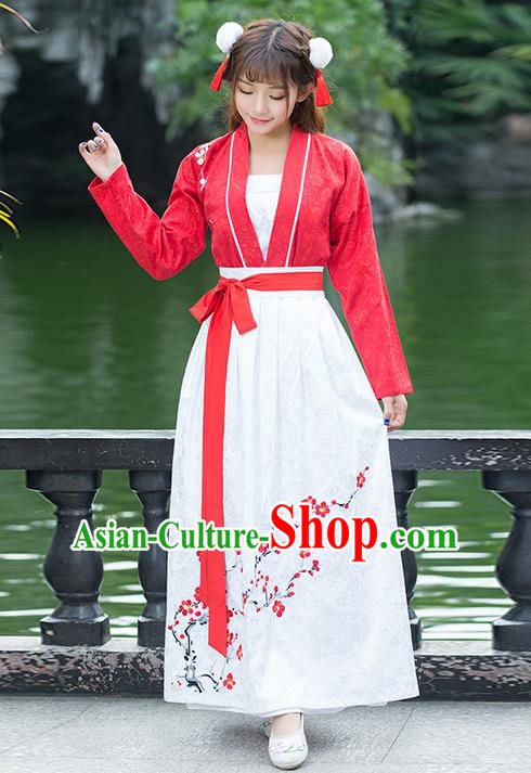 Traditional Ancient Chinese Costume, Elegant Hanfu Clothing Embroidered Peach Flower Blouse and Dress, China Ming Dynasty Elegant Red Blouse and Skirt Complete Set for Women