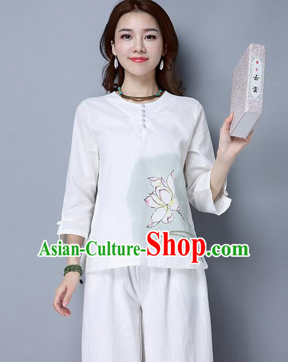 Traditional Chinese National Costume, Elegant Hanfu Painting Lotus T-Shirt, China Tang Suit Blouse Cheongsam Qipao Shirts Clothing for Women