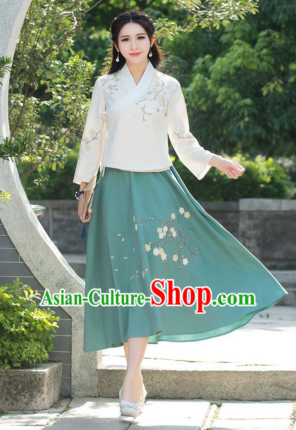 Traditional Chinese National Pleated Skirt Costume, Elegant Hanfu Embroidered Plum Blossom Long Green Dress, China Tang Suit Bust Skirt for Women