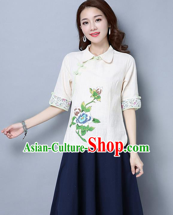 Traditional Ancient Chinese National Costume, Elegant Hanfu Linen Printing White T-Shirt, China Tang Suit Blouse Cheongsam Qipao Shirts Clothing for Women