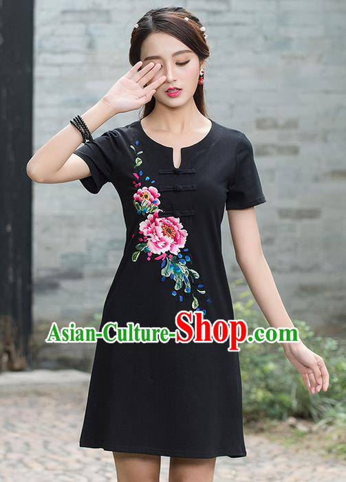 Traditional Ancient Chinese National Costume, Elegant Hanfu Plated Buttons Linen Embroidered Black Dress, China Tang Suit Cheongsam Upper Outer Garment Elegant Dress Clothing for Women