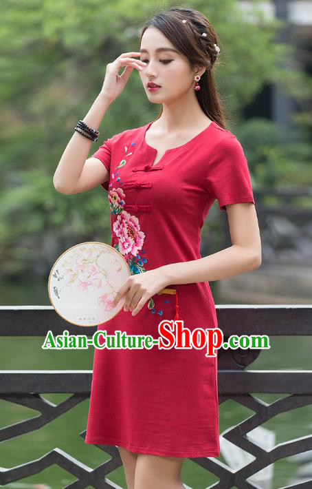 Traditional Ancient Chinese National Costume, Elegant Hanfu Plated Buttons Linen Embroidered Red Dress, China Tang Suit Cheongsam Upper Outer Garment Elegant Dress Clothing for Women