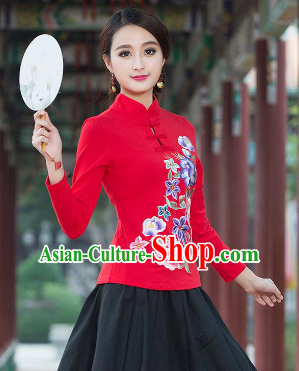 Traditional Chinese National Costume, Elegant Hanfu Embroidery Flowers Stand Collar Red T-Shirt, China Tang Suit Plated Buttons Blouse Cheongsam Upper Outer Garment Qipao Shirts Clothing for Women