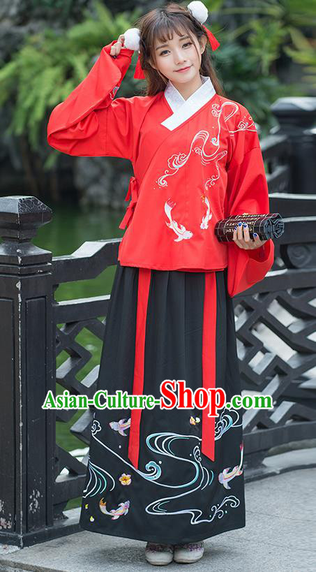 Traditional Ancient Chinese Costume, Elegant Hanfu Clothing Embroidered Fancy Carp Wide Sleeve Blouse and Dress, China Ming Dynasty Elegant Red Blouse and Ru Skirt Complete Set for Women