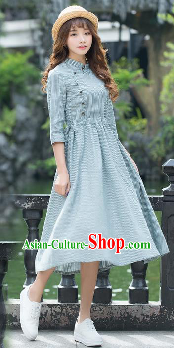 Traditional Ancient Chinese National Costume, Elegant Hanfu Mandarin Qipao Plate Buttons Linen Dress, China Tang Suit Cheongsam Upper Outer Garment Elegant Dress Clothing for Women