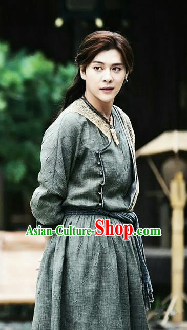 Traditional Ancient Chinese Elegant Swordsman Costume, Chinese Tang Dynasty Jiang Hu Swordsman Robe, Cosplay Detective Samoyeds Nobility Childe Chinese Kawaler Hanfu Clothing for Men