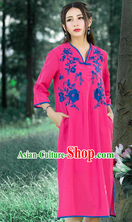 Traditional Ancient Chinese National Costume, Elegant Hanfu Mandarin Qipao Linen Embroidered Chirpaur Pink Dress, China Tang Suit Cheongsam Upper Outer Garment Elegant Dress Clothing for Women