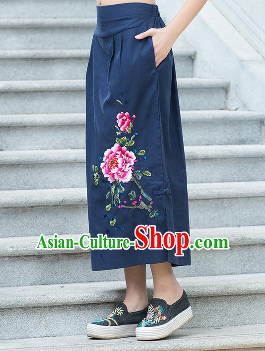 Traditional Ancient Chinese National Pleated Skirt Costume, Elegant Hanfu Embroidered Peony Linen Navy Half Dress, China Tang Suit Bust Skirt for Women