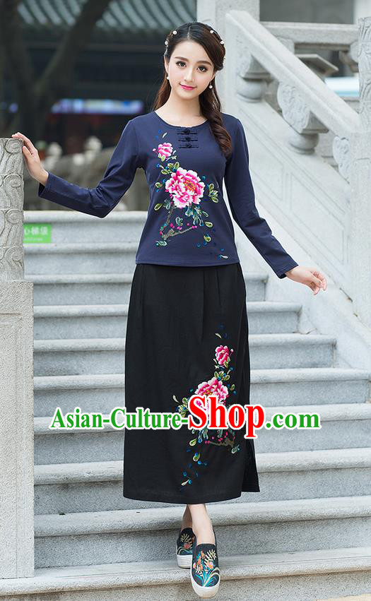Traditional Ancient Chinese National Pleated Skirt Costume, Elegant Hanfu Embroidered Peony Linen Black Half Dress, China Tang Suit Bust Skirt for Women