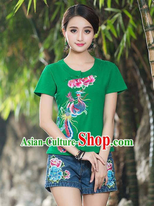 Traditional Chinese National Costume, Elegant Hanfu Embroidery Phoenix Round Collar Green T-Shirt, China Tang Suit Plated Buttons Blouse Cheongsam Upper Outer Garment Qipao Shirts Clothing for Women