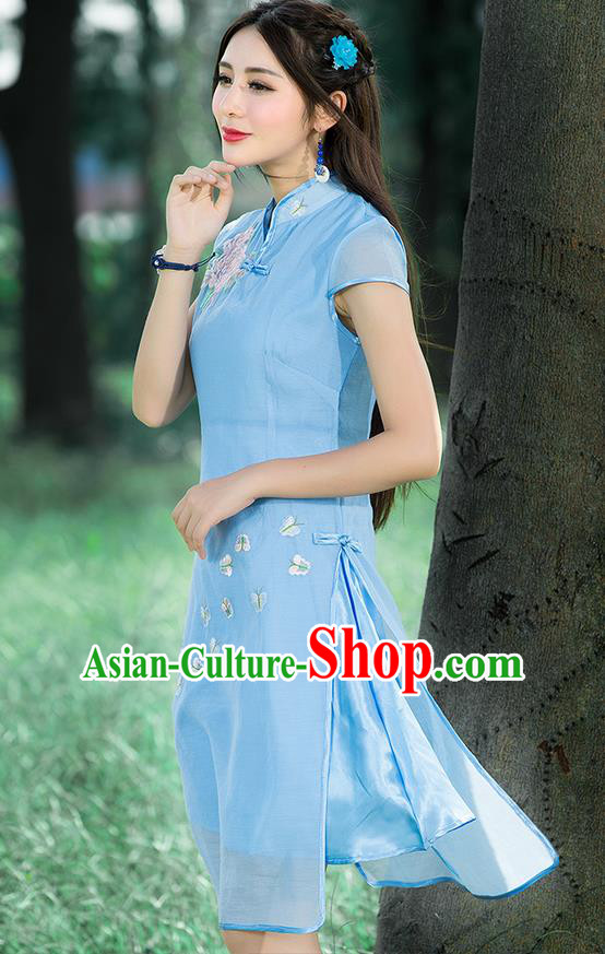 Traditional Ancient Chinese National Costume, Elegant Hanfu Mandarin Qipao Embroidered Blue Stand Collar Dress, China Tang Suit Plated Buttons Cheongsam Upper Outer Garment Elegant Dress Clothing for Women