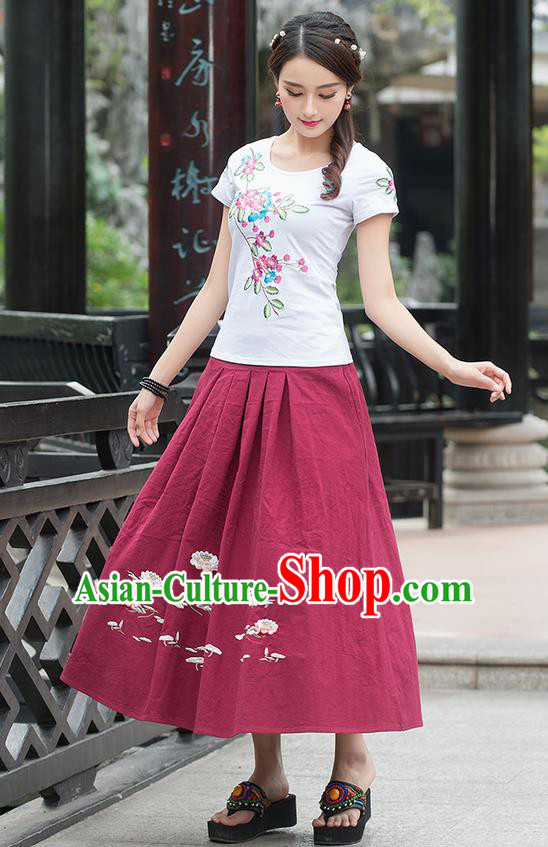 Traditional Ancient Chinese National Pleated Skirt Costume, Elegant Hanfu Embroidered Linen Long Red Dress, China Tang Suit Bust Skirt for Women