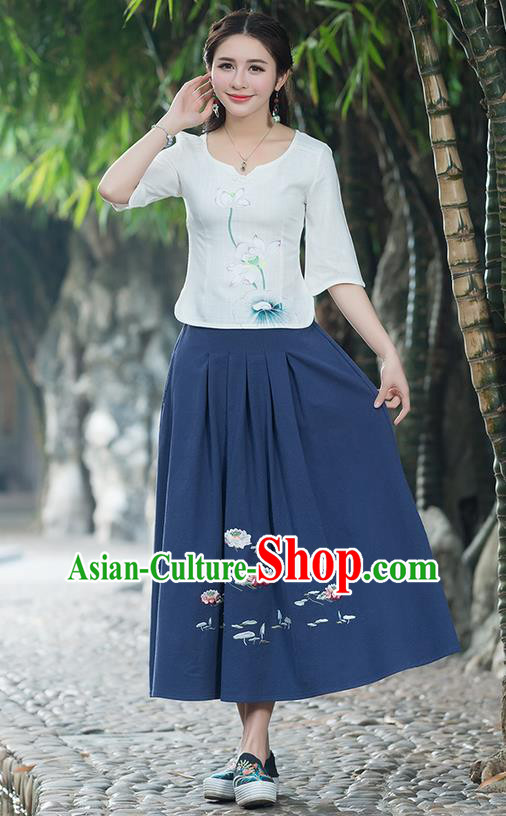 Traditional Ancient Chinese National Pleated Skirt Costume, Elegant Hanfu Embroidered Linen Long Navy Dress, China Tang Suit Big Swing Bust Skirt for Women