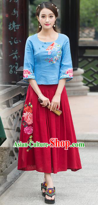 Traditional Ancient Chinese National Pleated Skirt Costume, Elegant Hanfu Embroidered Red Long Dress, China Tang Suit Palace Lady Big Swing Bust Skirt for Women