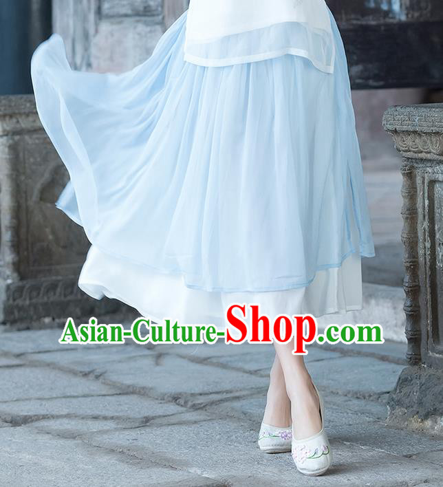 Traditional Ancient Chinese National Pleated Skirt Costume, Elegant Hanfu Long Dress, China Tang Suit Bust Skirt for Women