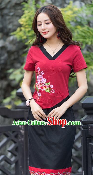 Traditional Chinese National Costume, Elegant Hanfu Embroidery Flowers Irregular Skirt Red T-Shirt, China Tang Suit Blouse Cheongsam Upper Outer Garment Qipao Shirts Clothing for Women