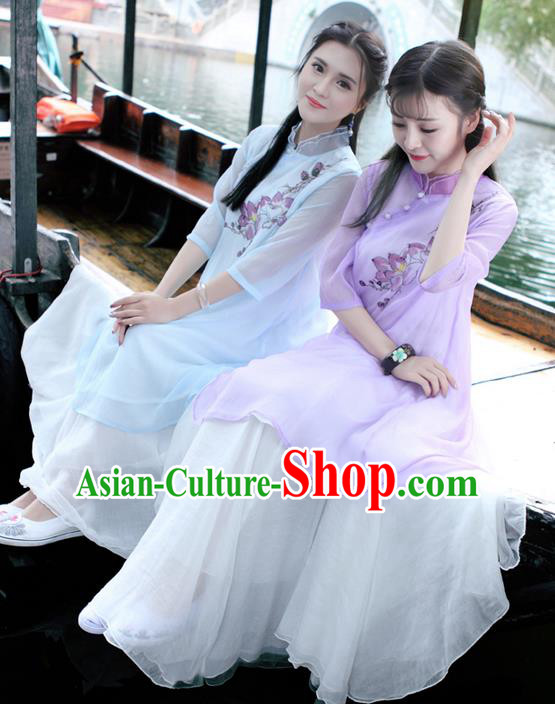 Traditional Ancient Chinese National Pleated Skirt Costume, Elegant Hanfu Chiffon Long White Dress, China Tang Dynasty Bust Skirt for Women