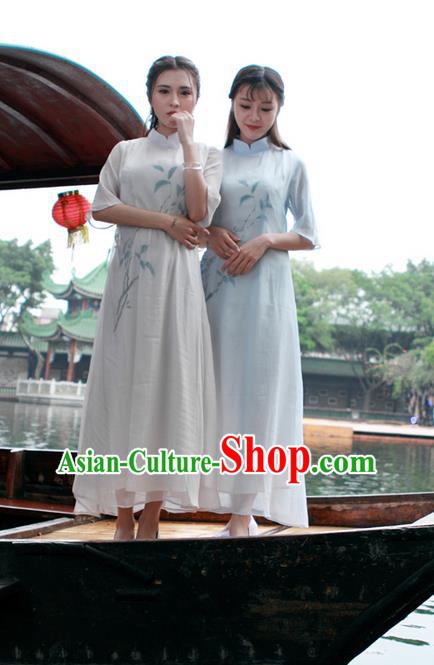 Traditional Ancient Chinese National Costume, Elegant Hanfu Mandarin Qipao Chiffon Dress, China Tang Suit Chirpaur Republic of China Lady Cheongsam Upper Outer Garment Elegant Dress Clothing for Women